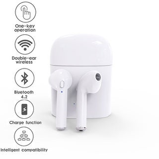 Bluetooth 4.2 EarPods Mini Wireless In-Ear Headset headphones with Charging Dock (Universally Compatible - iOS and Android)