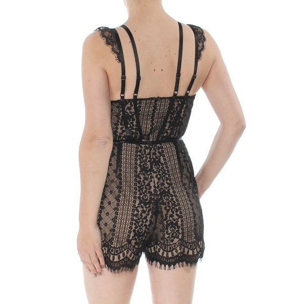 GUESS Women Embroidered Lace Up Spaghetti Strap Romper Blacks