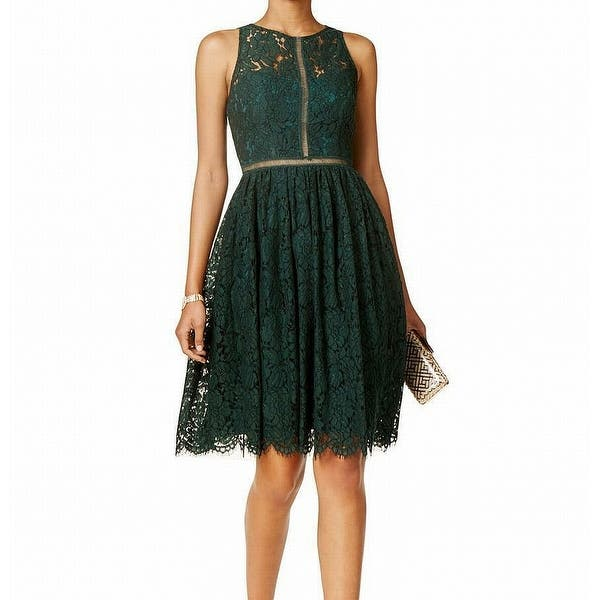 Adrianna Papell Green Womens Size 6 Fit Flare Lace A Line Dress