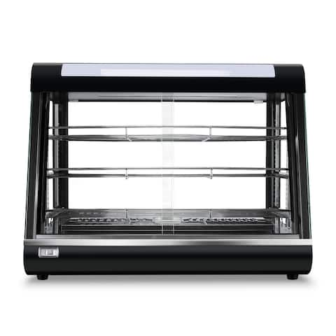 """DELLA 24"""" Commercial Heated Bakery Food Display Warmer Curved Glass Stand w/ Sliding Doors, Black - Standard"""