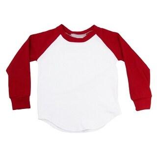 Unisex Baby Red Two Tone Long Sleeve Raglan Baseball T-Shirt 6-12M