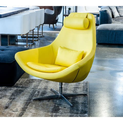 Modrest Kenora Modern Yellow Eco-Leather Accent Chair