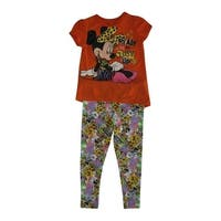 Disney Little Girls Orange Minnie Mouse Animal Print 2 Pc Pant Outfit