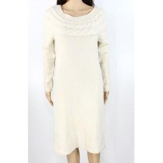 Lauren by Ralph Lauren NEW Beige Womens Size M Cable-Knit Sweater Dress