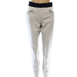 INC NEW Beige Women's Size 14 Pull On Zipper Detail Skinny Pants