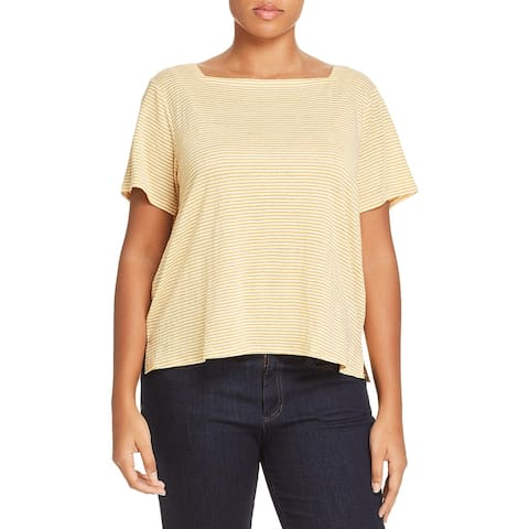 Eileen Fisher Womens Plus T-Shirt Linen Square Neck - Marigold