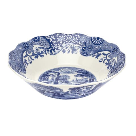 Spode Blue Italian 10 Inch Daisy Bowl - Blue/White