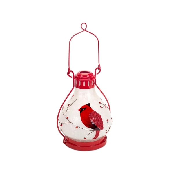 "17"" Country Cabin Battery Operated LED Lighted Red and White Cardinal Lantern with Timer"