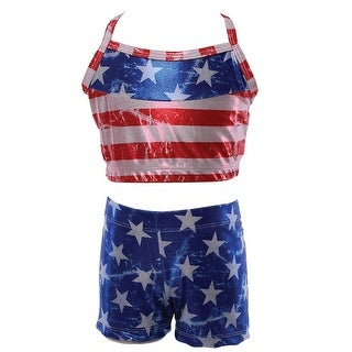 Reflectionz Girls Red Blue American Flag Top Shorts 2 Pc Set 8-10