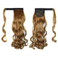 Magic Tape Long Curled Hair Extension Wig    khaki K06-27#