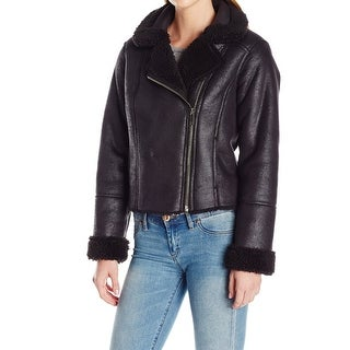 Vince Camuto NEW Black Womens Size Large L Faux-Fur Motorcycle Jacket