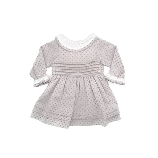 Coquelicot Baby Girls Rose Contrast Collar Stylish Pleated Dress