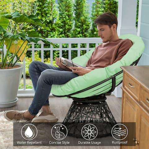 Costway Rattan Papasan Chair Ergonomic Chair 360-degree Swivel Soft