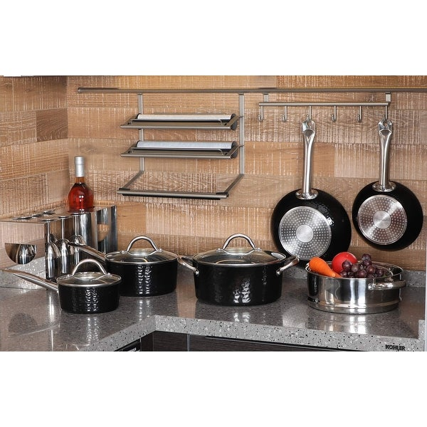 Kitchen Academy Premium Cookware - 15 Piece Interior Granite Pot Pan Set with Triple Coated Nonstick Aluminum Composition. Opens flyout.