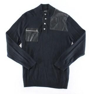 INC NEW Solid Black Mens Size 2XL Faux-Leather Turtleneck Sweater