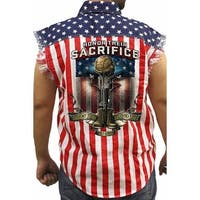 Men's Sleeveless Denim Shirt USA Flag Honor Their Sacrifice Veteran Eagle Military