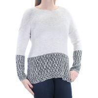 Womens Beige Long Sleeve Jewel Neck Sweater  Size  L