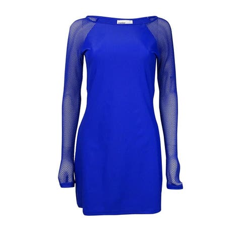 DKNY Women's Mesh-Sleeves Scuba Dress Swim Cover (XS, Electric Blue) - Electric Blue - XS