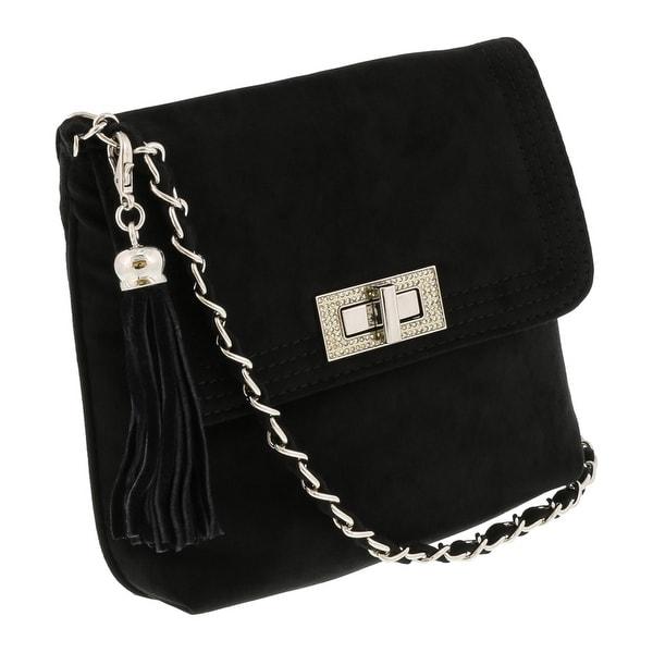 Scheilan Black Suede Tassle Clutch/Shoulder Bag - 8.5-8-1.5
