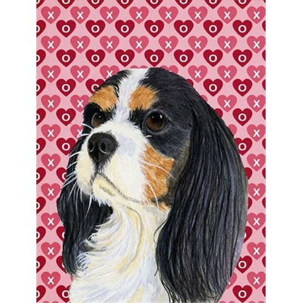 28 x 40 in. Cavalier Spaniel Hearts Love And Valentines Day Flag