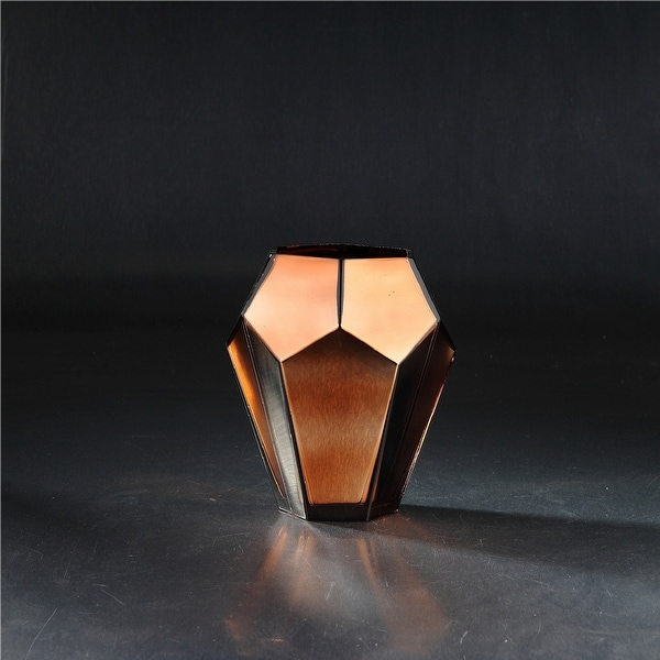 """8"""" Brown Geometric Faceted Glass Vase - N/A"""