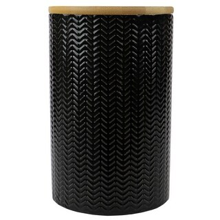Link to Wave Large Ceramic Canister, Black Similar Items in Kitchen Storage