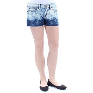 LUCKY BRAND $79 Womens New 1048 Blue Acid Wash Fringed Cropped Short 8 B+B