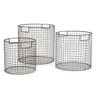 Set of 3 Matte Gray Finish Decorative Round Metal Wire Baskets