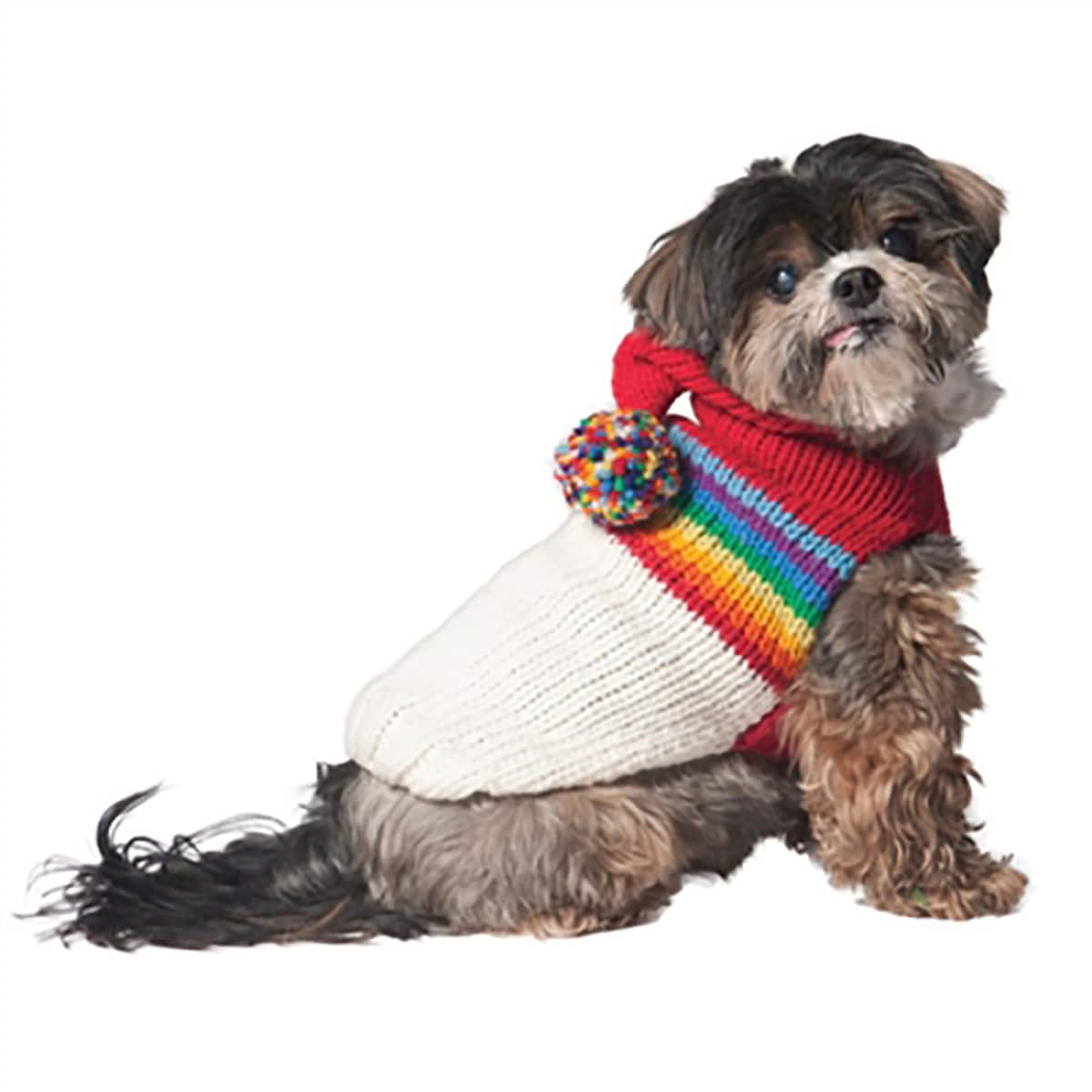 Handmade Vintage Ski Hoodie Wool Dog Sweater (X-Small)