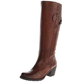 Clarks Women's Maymie Stellar Riding Boot, Cognac Leather, Size 7.0