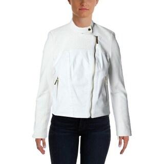 MICHAEL Michael Kors Womens Tweed Contrast Trim Motorcycle Jacket - 6