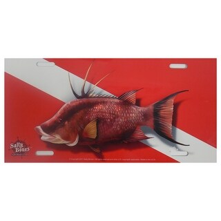 Hogfish Dive Flag Plate Red/White