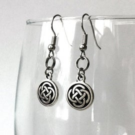Loralyn Designs Celtic Knot Dangle Earrings Stainless Steel French Hook - Silver