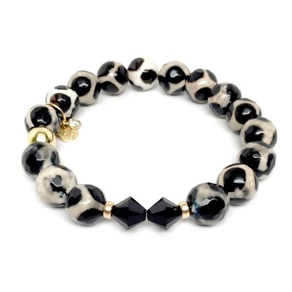 "Black & White Agate Paris 7"" Bracelet"