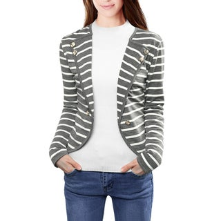 Unique Bargains Women Notched Lapel Button Decor Striped Blazer (5 options available)