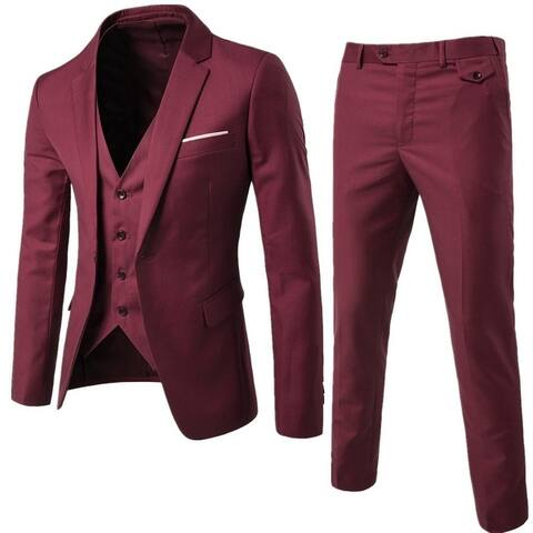 Men Slim Fit 3 Piece Suit One Button Blazer Tux Vest & Trousers