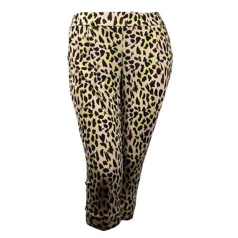 36704c1038a758 Thalia Sodi Women's Printed Pocket Cropped Jersey Pants - Pearly Sand Combo  - L