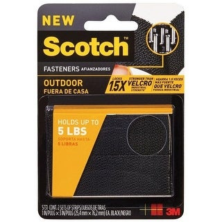 """Scotch RF5731 Outdoor Fasteners, 2 Sets of Strips, 1"""" x 3"""", Black"""