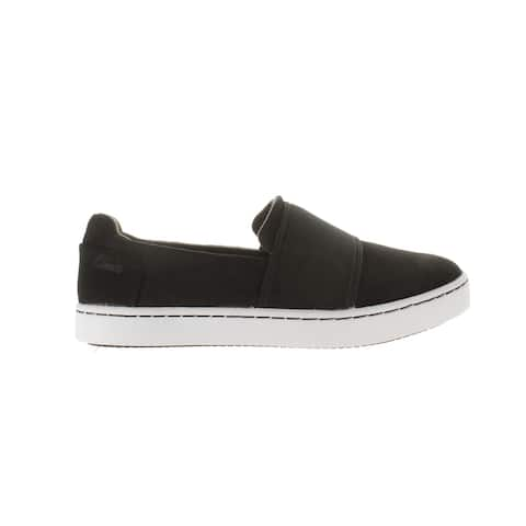 Clarks Womens Pawley Wes Black Suede Casual Flats Size 7 (Wide)