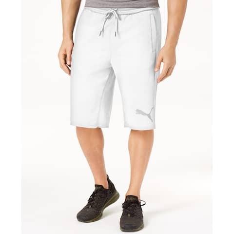 PUMA Mens Shorts White Size 2XL Logo Drawstring Bermuda Sweatshorts