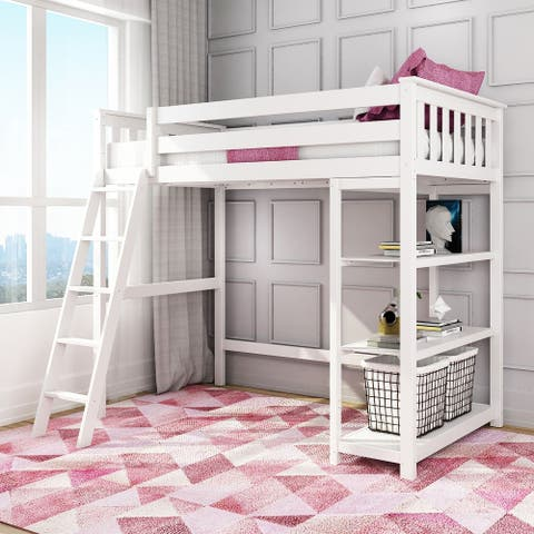 Max & Lily Twin-Size High Loft Bed with Bookcase