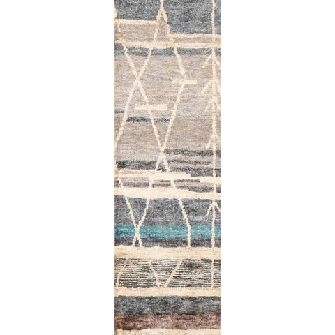 """Abstract Contemporary Moroccan Oriental Runner Rug Hand-knotted Carpet - 2'6"""" x 7'5"""""""