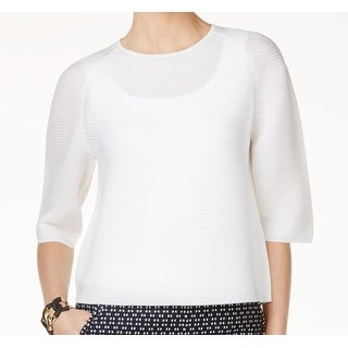 Anne Klein NEW White Bright Womens Size Large L Crewneck Ribbed Sweater