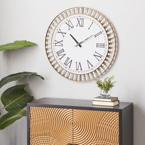 White Metal Contemporary Wall Clock 24 x 24 x 2 - 24 x 2 x 24