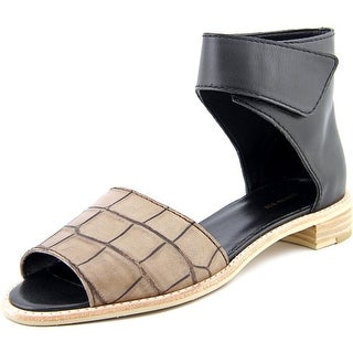 All Black Croc Wrap Open Toe Leather Gladiator Sandal