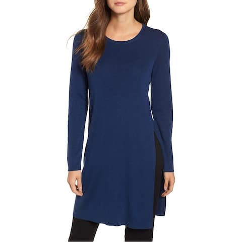 Eileen Fisher Women's Sweater Navy Blue Size Large L Tunic Slit Ribbed