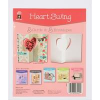 Hot Off The Press Die, Cut Cards with Envelopes, Heart Swing, 5-Pack