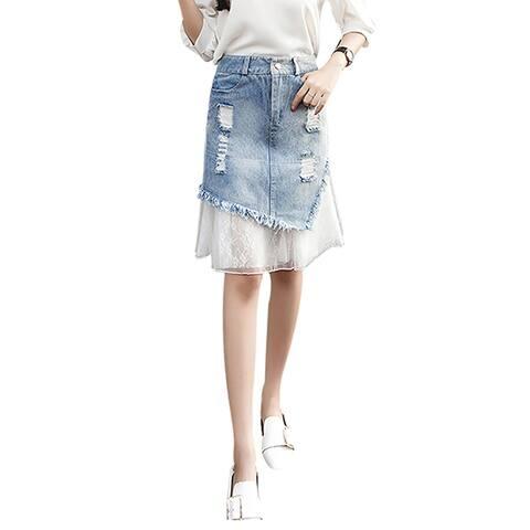 QZUnique A-line Lace Ripped Denim Skirt Stretchy High Waist Midi Jean Skirt