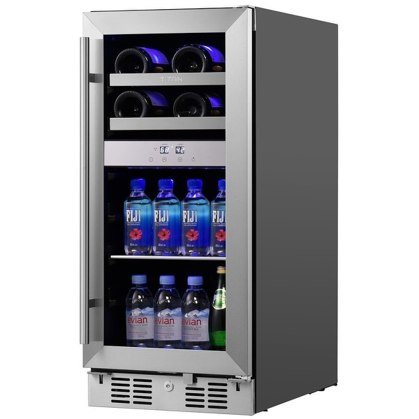 Signature 15 in. 8-Bottle and 40-Can Stainless Steel Single Door Dual Zone Built-In Wine and Beverage Cooler. Opens flyout.