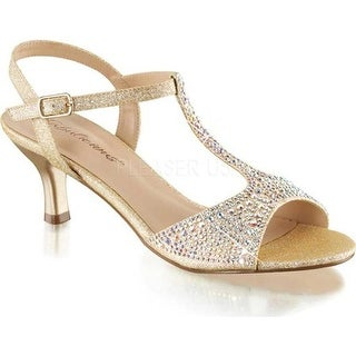 Fabulicious Women's Audrey 05 T-Strap Sandal Nude Shimmering Fabric
